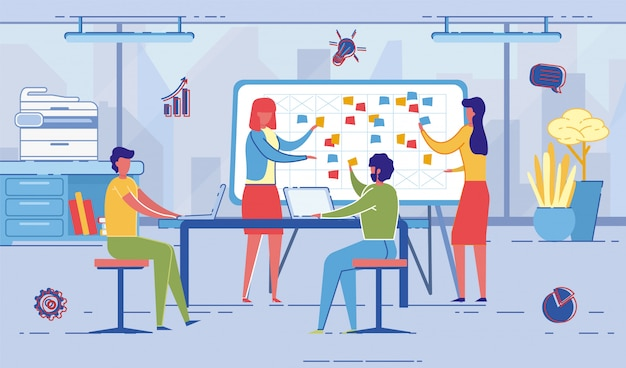 Gente en el trabajo discutiendo planes y eventos futuros.