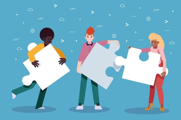 Gente de trabajo en equipo creando un rompecabezas