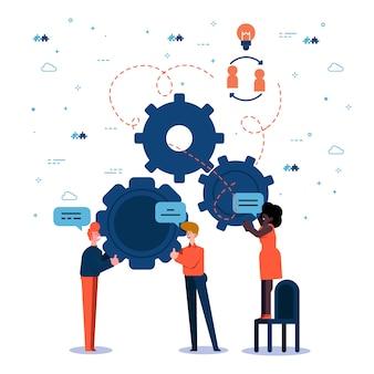 Gente de trabajo en equipo creando una solución