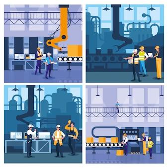 Gente de trabajo en equipo en escena de fábrica