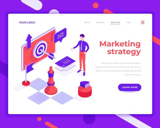 La gente del trabajo en equipo de la estrategia de marketing e interactuar con el sitio isométrico ilustración vectorial