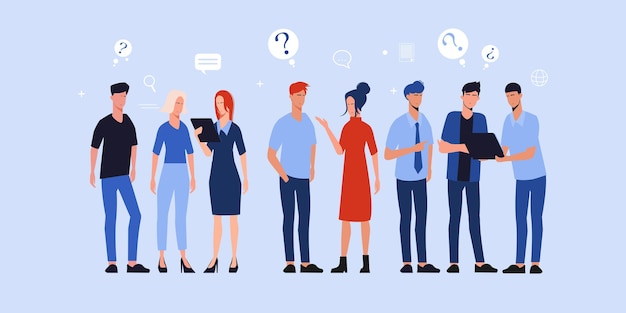 Gente de trabajo en equipo de negocios de pie para intercambiar ideas discutiendo
