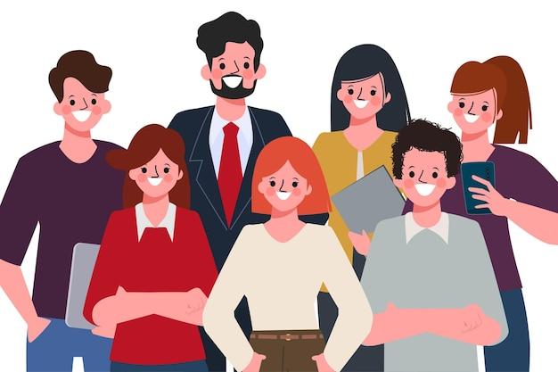 Gente de trabajo en equipo de negocios de pie para reunirse.