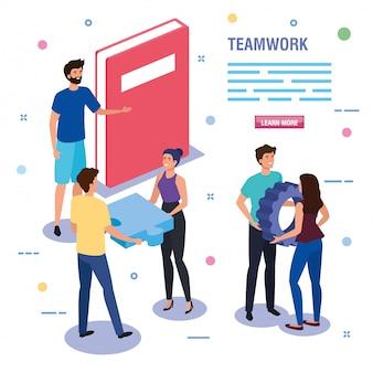 Gente de trabajo en equipo con plantilla de libro e iconos