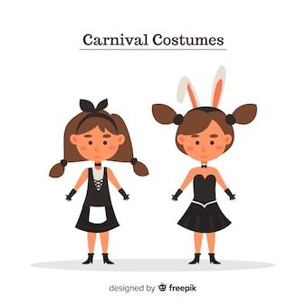 Gente con trajes de carnaval