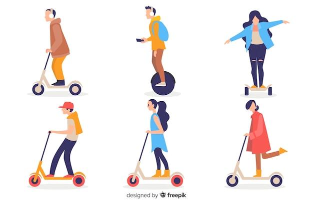 Gente con transporte