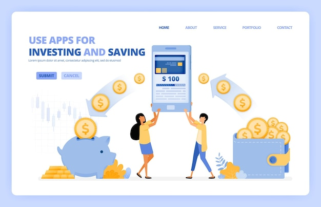 La gente usa aplicaciones móviles para ahorrar e invertir dinero en una sociedad sin efectivo 4.0. el concepto de ilustración se puede utilizar para la página de destino.
