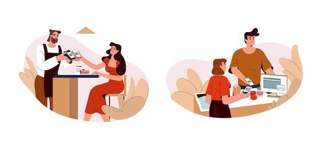 La gente usa el teléfono para escanear el código qr y pagar rápidamente por internet. compradores que pagan por aplicación en un teléfono inteligente en una cafetería, restaurante o tienda. concepto plano del sistema de pago sin efectivo o sin contacto inalámbrico móvil.