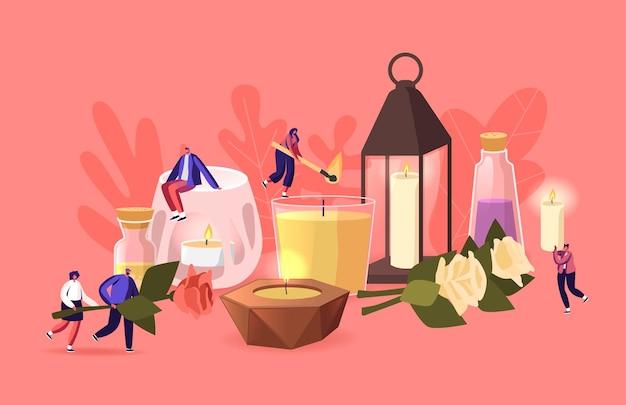 La gente usa velas aromáticas en el concepto de hogar. pequeños personajes masculinos y femeninos con varias velas enormes en vidrio y cerámica candelabros, hierbas, flores y aceites en frascos. ilustración vectorial de dibujos animados