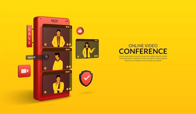 La gente usa la videoconferencia en línea por teléfono inteligente, reunión de grupo y concepto de casa de trabajo de conversación