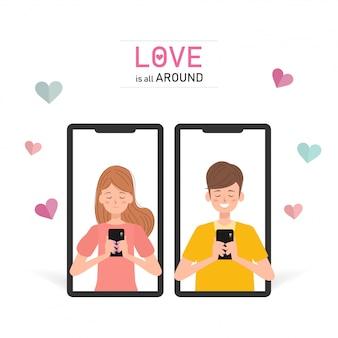 La gente está usando un teléfono inteligente en el día de san valentín.