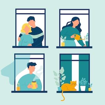 Gente vecina y vida de gato a través de ventanas abiertas