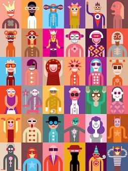 Gente, vector, ilustración