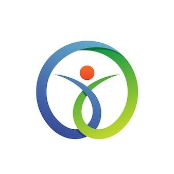 Gente en vector de logo de atención médica de círculo