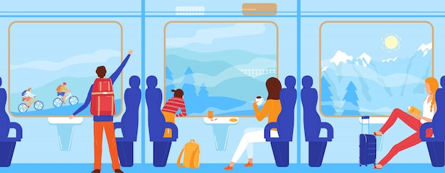 La gente viaja en tren