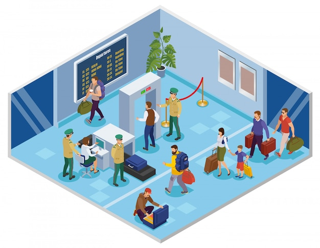 La gente de viaje isométrica con el pasajero en la terminal del aeropuerto pasando el registro y la inspección previa al vuelo