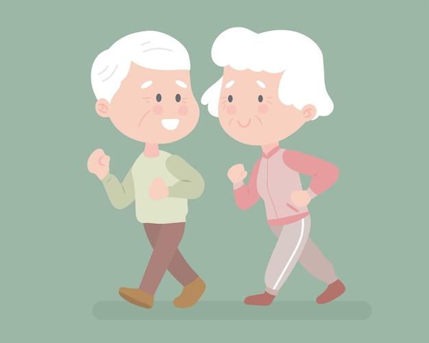 Gente vieja entrenando juntos