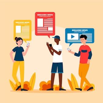 Gente viendo noticias en la ilustración del teléfono