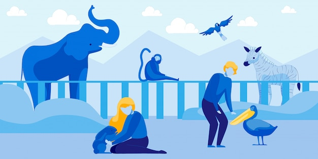 La gente visita el zoológico de mascotas con animales y pájaros
