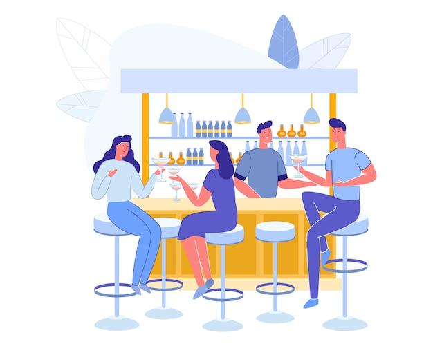 Gente visitando el café. personajes de hombres y mujeres