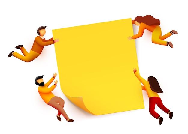 Gente volando alrededor de nota adhesiva amarilla en blanco