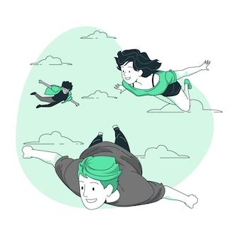 Gente volando concepto ilustración