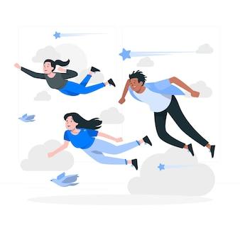 Gente volando ilustración del concepto