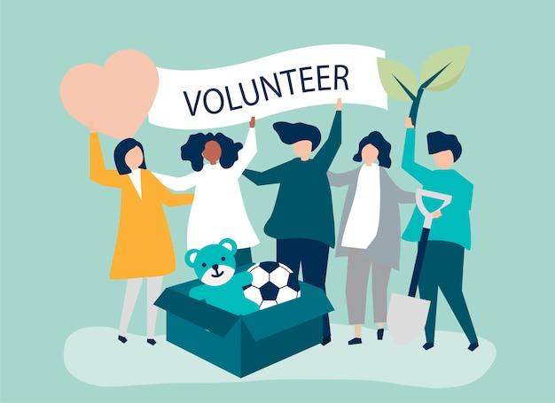 Gente voluntaria y donando dinero y artículos.