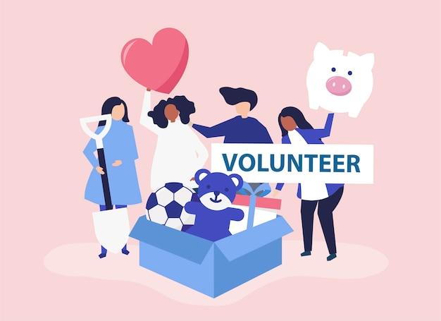 Gente voluntaria y donando dinero.