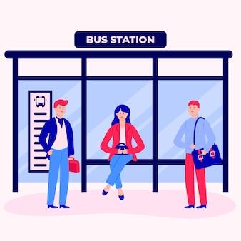 Gente volviendo al trabajo en la estación de autobuses.