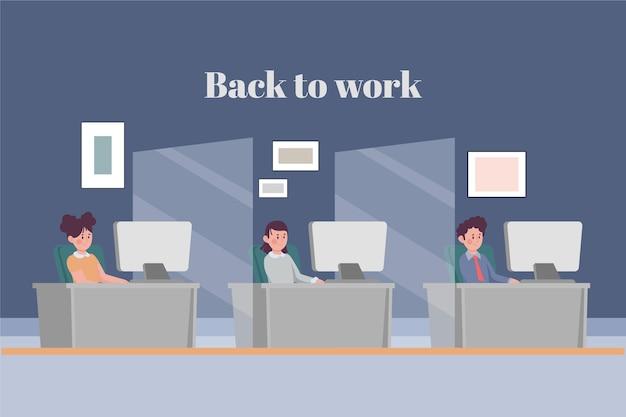 Gente volviendo al trabajo ilustración.