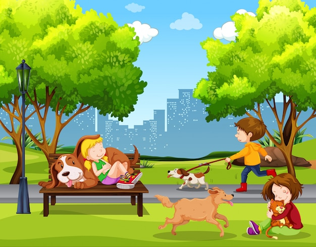 Gente y mascota en el parque