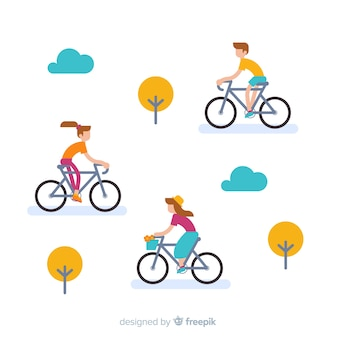 Gente yendo en bicicleta en el parque estilo plano