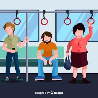Gente yendo en el metro diseño plano