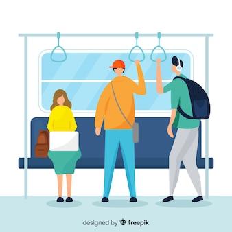 Gente yendo en el metro