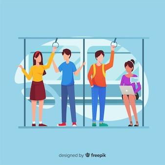 Gente yendo en metro