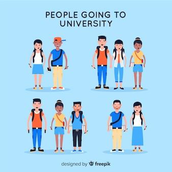 Gente yendo a la universidad en diseño plano