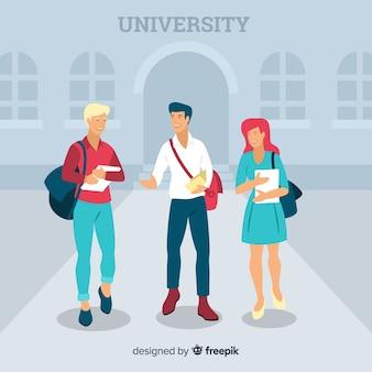 Gente yendo a la universidad