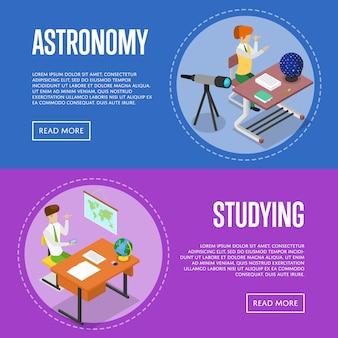 Geografía y astronomía estudiando en el conjunto web de banner escolar