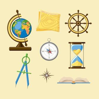 Geografía con globo, mapa topográfico, rueda de barco, brújula, reloj de arena, windrose y boo