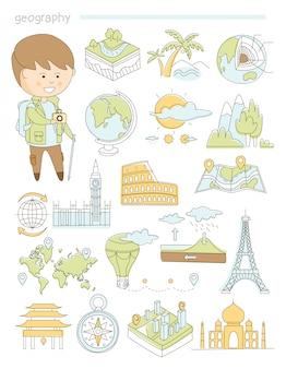 Geografía y viajes, profesor geógrafo estilo doodle conjunto grande