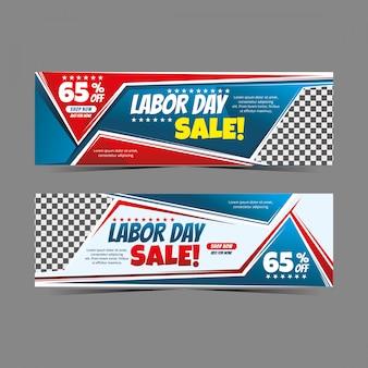 Geometría de banner web moderna del día del trabajo para venta con descuento, oferta especial de banner de venta flash
