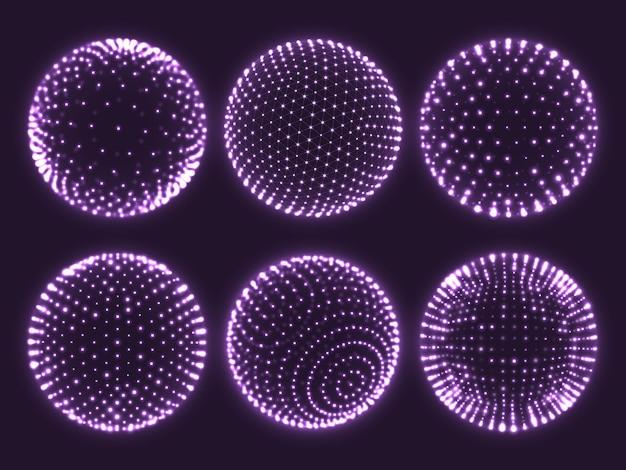 Geometría cuadrícula esfera 3d con puntos de luz, órbita atómica, gráfico científico de partículas o icono de bola de realidad virtual.
