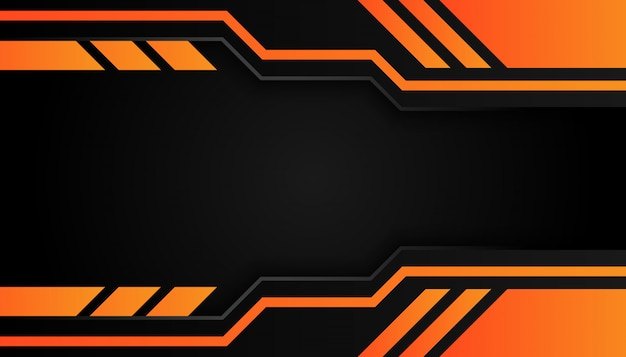 Geometría moderna 3d da forma a líneas negras con bordes naranjas sobre fondo oscuro