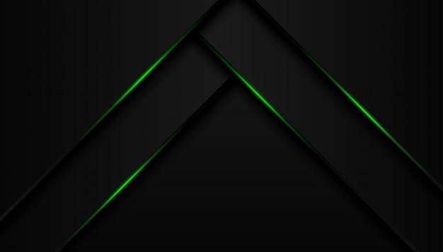 La geometría moderna 3d da forma a líneas negras con bordes verdes sobre fondo oscuro