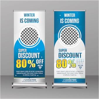 Geometría moderna azul y blanca de pie plantilla rollup banner súper especial oferta descuento de venta, promoción de venta de invierno