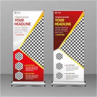 Geometría moderna roja y blanca rollup permanente banner plantilla super oferta especial oferta descuento de venta