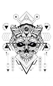 Geometría sagrada de cara de diablo