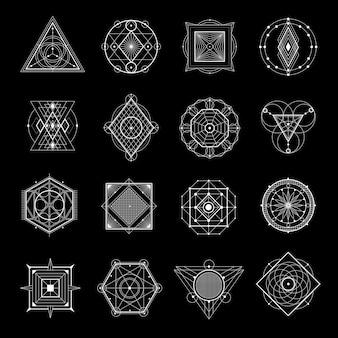 Geometría sagrada en conjunto negro