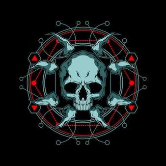Geometría sagrada cráneo y hueso